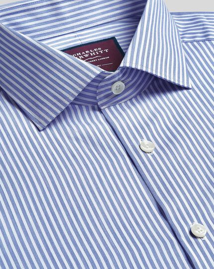 Semi-cutaway Collar Luxury Stripe Shirt- Sky