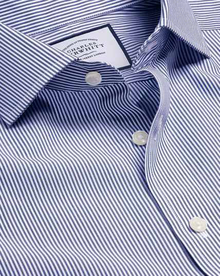 Spread Collar Non-Iron Bengal Stripe Shirt - Navy