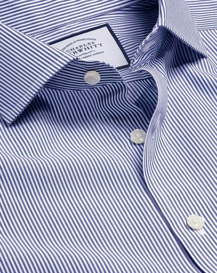 Cutaway Collar Non-Iron Bengal Stripe Shirt - Navy