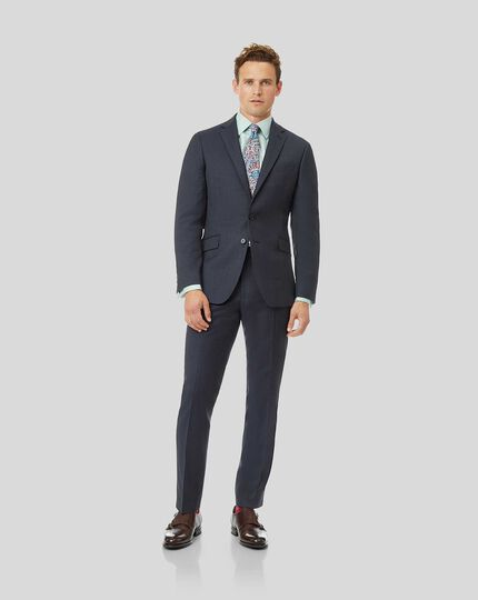 Natural Stretch Italian Stripe Suit - Airforce Blue
