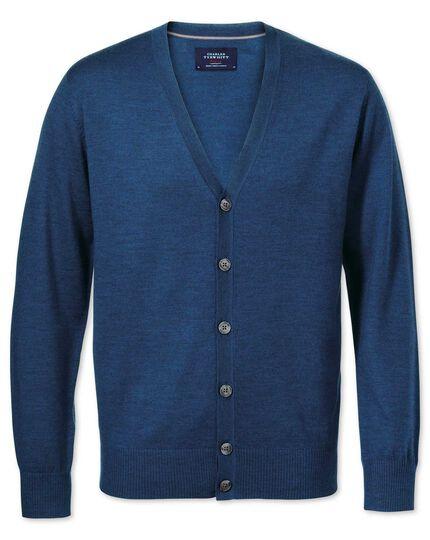 Mid blue merino wool cardigan