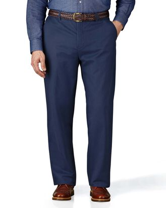 Blue classic fit flat front weekend chinos
