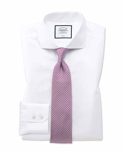 Slim fit white non-iron twill spread collar shirt