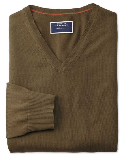 Olive v-neck merino sweater