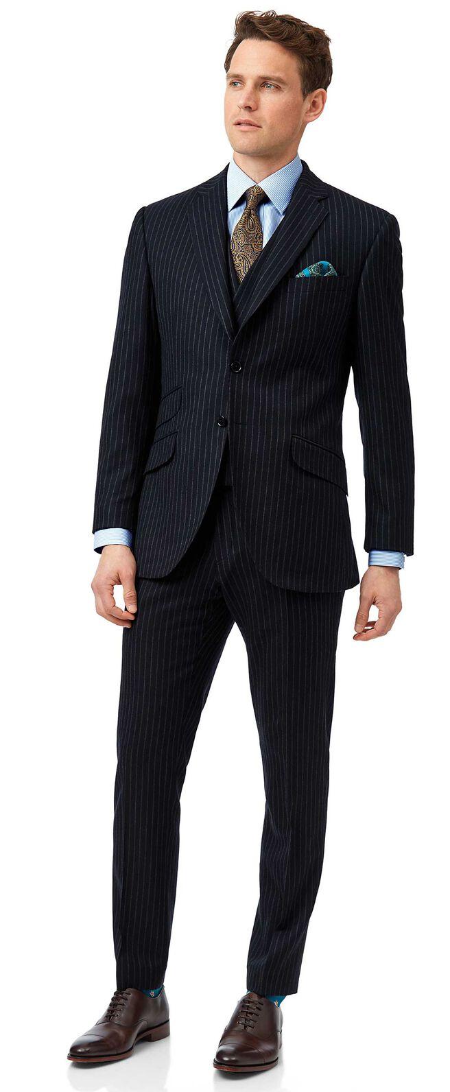 Navy stripe slim fit British luxury suit