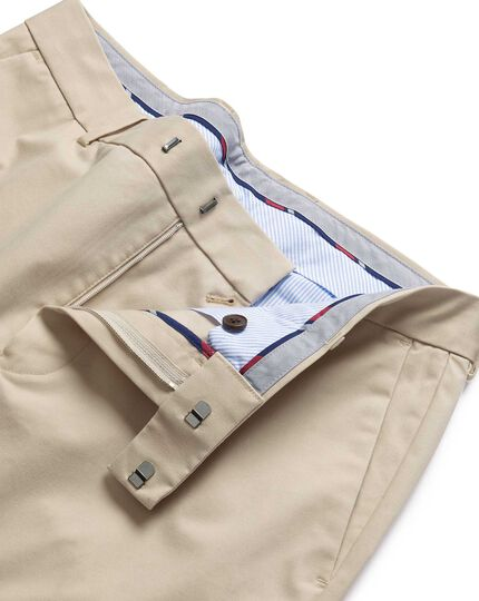 Stone flat front non-iron chinos