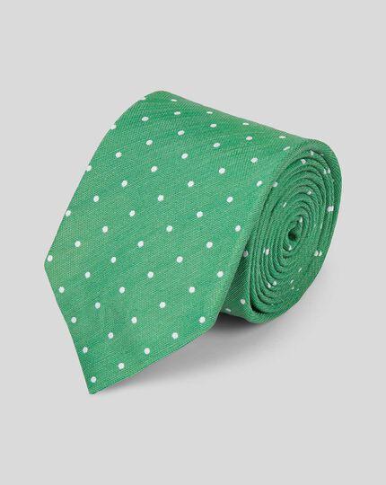 Silk Linen Spot Tie - Green