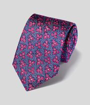 Silk Floral English Luxury Tie - Pink