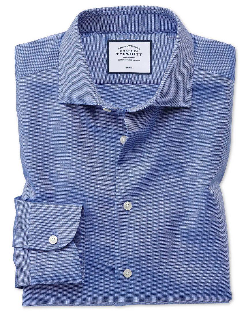 Slim fit business casual non-iron cotton linen blue shirt