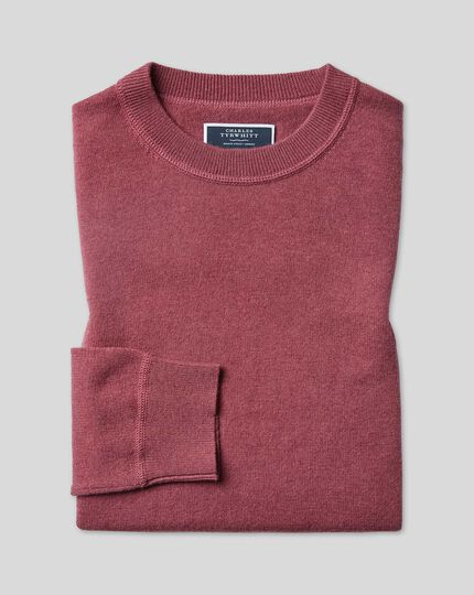 Merino Cashmere Crew Neck Sweater - Pink