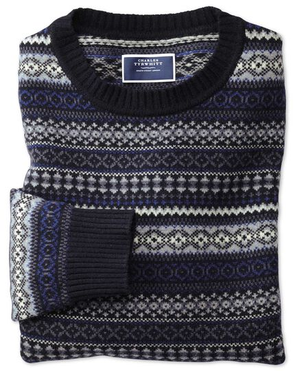 Navy and blue crew neck Fair Isle jumper