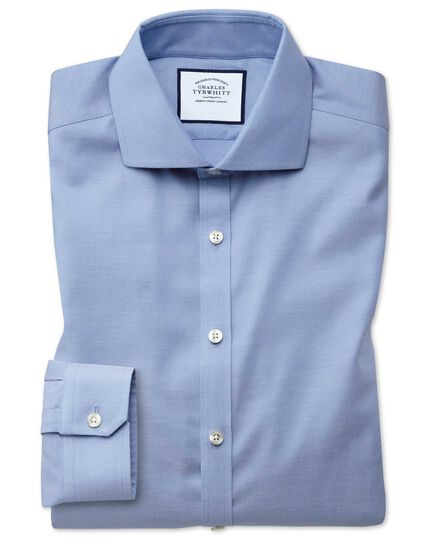 Super slim fit non-iron mid-blue Oxford stretch shirt