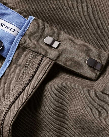 Brown classic fit stretch cavalry twill chinos
