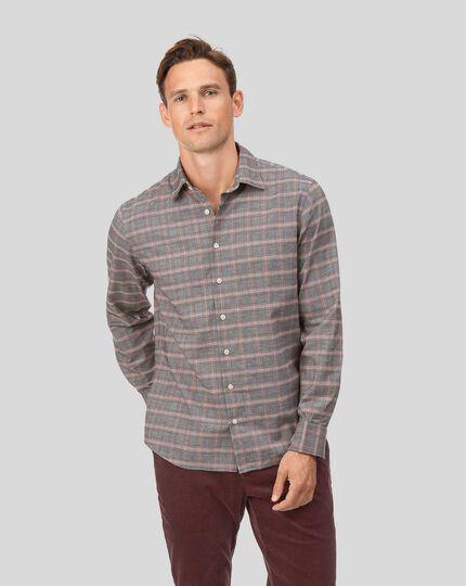 Chemise en coton avec Tencel™ orange et grise à carreaux Prince de Galles slim fit