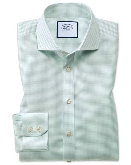 Slim fit spread collar non-iron natural cool micro check green shirt