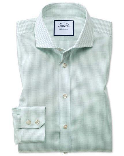 Chemise verte en coton natural cool extra slim fit à col cutaway et micro-carreaux sans repassage