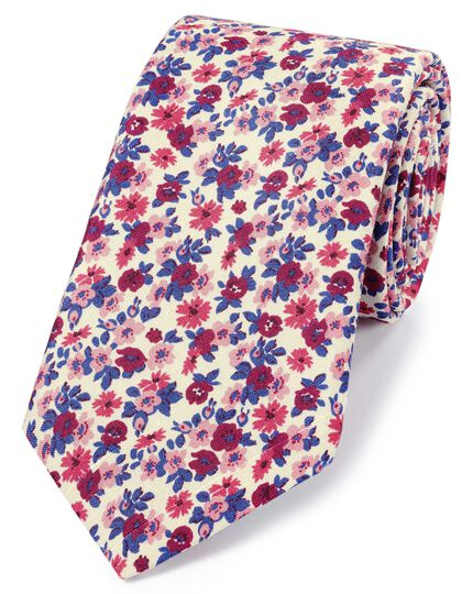 Pink multi silk floral print Italian luxury tie