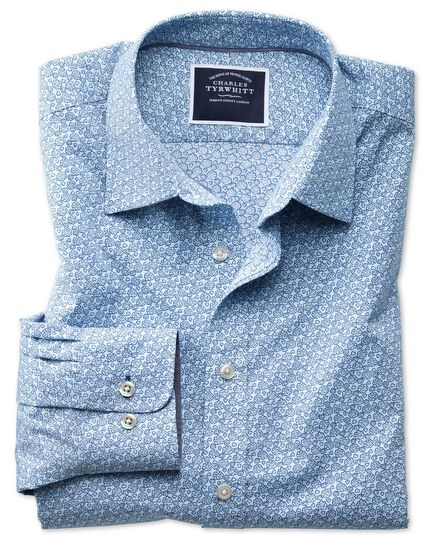Slim fit non-iron poplin light blue floral print shirt