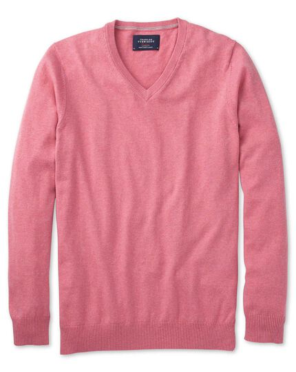 Pink cotton cashmere v-neck sweater