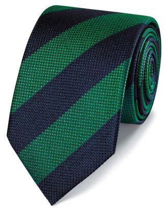 Klassische Krawatte Seide mit Blockstreifen in Grün & Blau