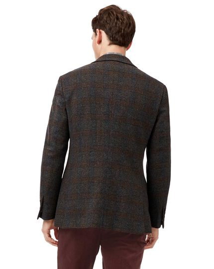 Slim fit brown check textured wool jacket