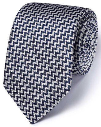 Dark navy silk English luxury end-on-end tie