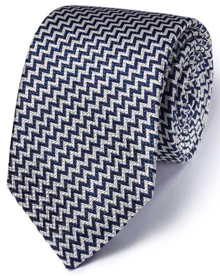 cravate de luxe bleu marine en fil fil de soie anglaise charles tyrwhitt. Black Bedroom Furniture Sets. Home Design Ideas
