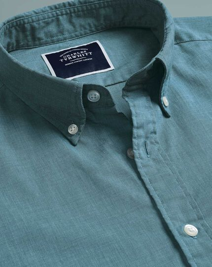 Soft Washed Stretch Poplin Shirt - Green