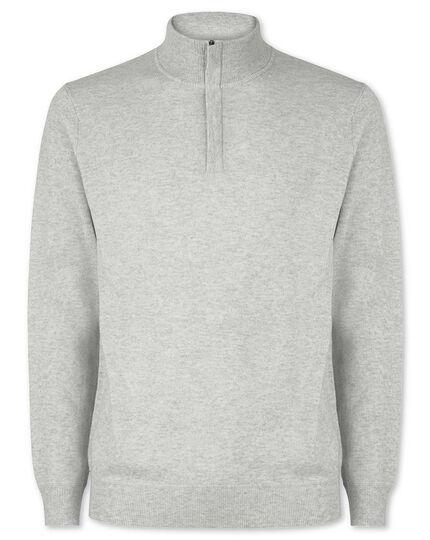 Silver grey merino cashmere zip neck jumper
