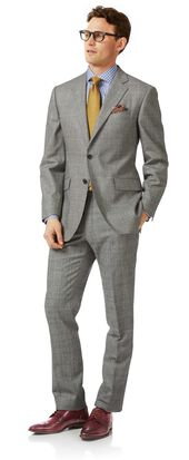 Grey classic fit Prince of Wales check flannel business suit