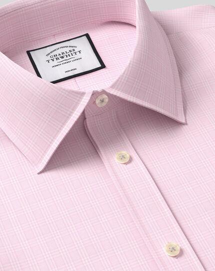 Bügelfreies kariertes Prince-of-Wales-Hemd mit Kent-Kragen - Rosa