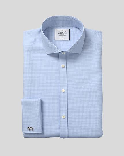 Bügelfreies Hemd mit Haifischkragen und Hahnentrittmuster  - Himmelblau