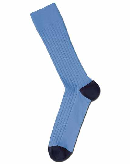 Sky blue cotton rib socks