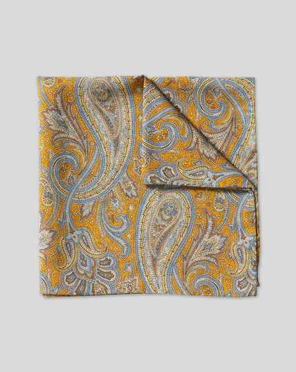 Paisley & Medallion Reversible Pocket Square - Gold