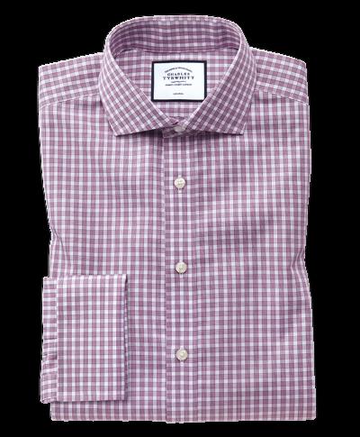 Bügelfreies Extra Slim Fit Twill-Hemd mit Gingham-Karos in Beerenrot
