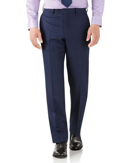 Royal blue classic fit flannel business suit trousers
