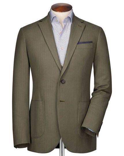 Slim fit khaki herringbone jacket
