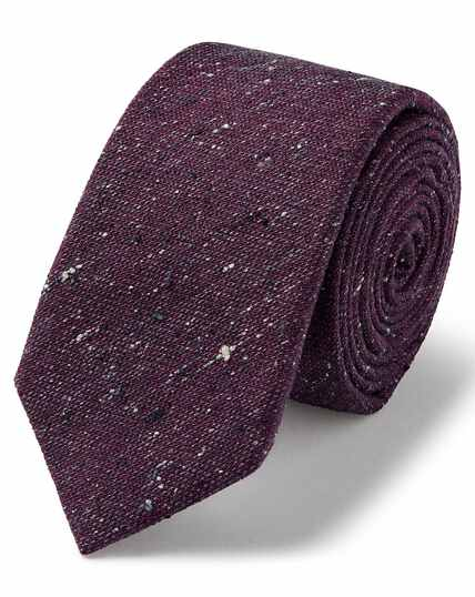 Purple wool silk Donegal slim tie