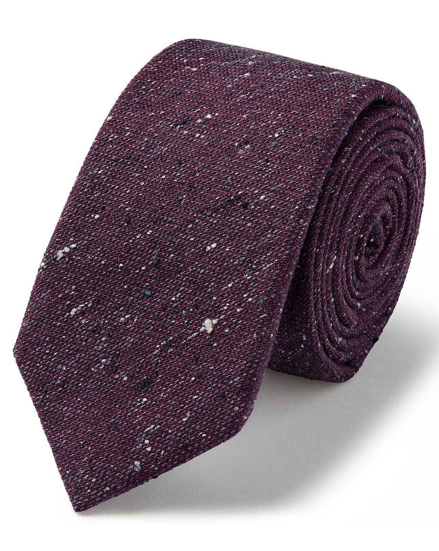 Purple wool silk Donegal slim tie