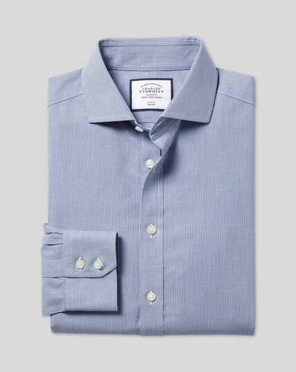 Bügelfreies 4-Way Stretch-Hemd mit Haifischkragen und Karos - Marineblau