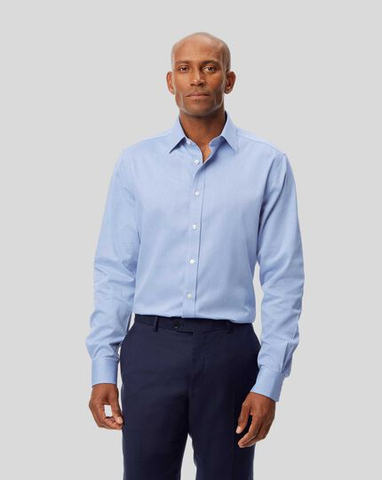 Non-Iron Micro Diamond Shirt - Blue
