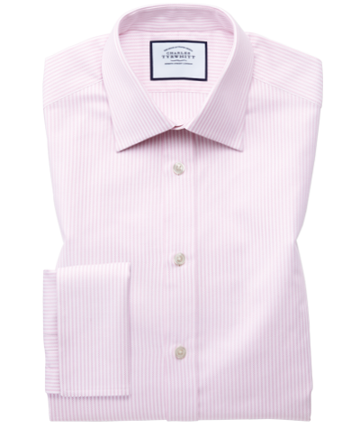 Slim fit Egyptian cotton royal Oxford pink and white stripe shirt