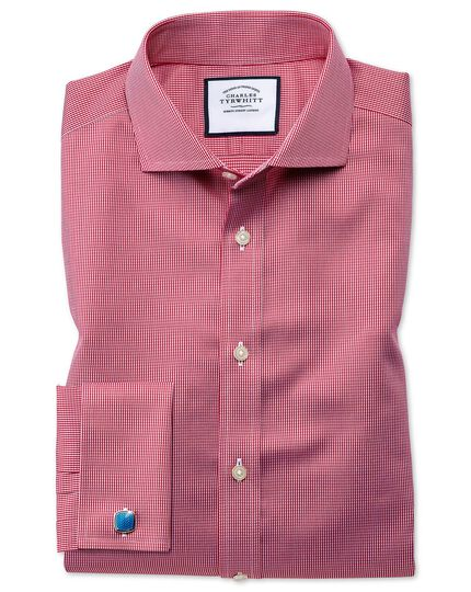 Extra slim fit cutaway collar non-iron puppytooth bright pink shirt