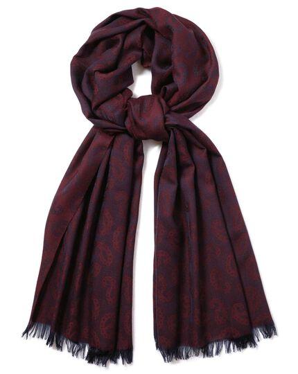 Écharpe légère en laine mérinos bordeaux à motif cachemire