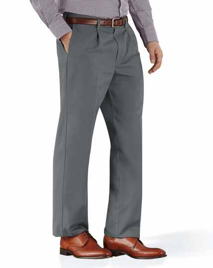 Grey classic fit single pleat non-iron chinos