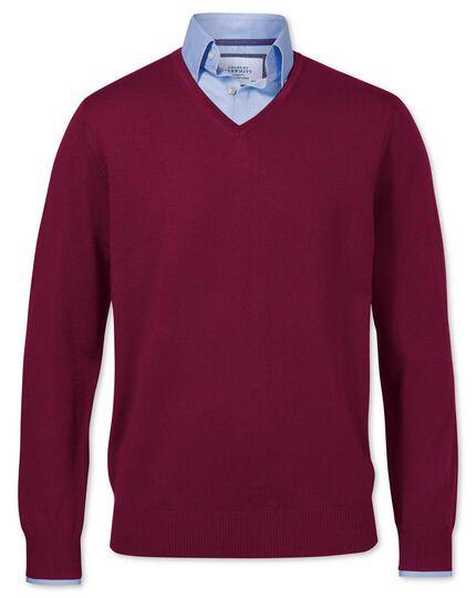 Dark red merino wool v-neck sweater