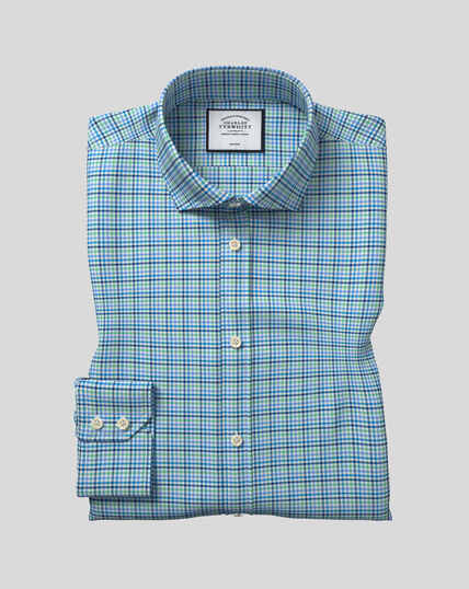 Spread Collar Non-Iron Tyrwhitt Cool Poplin Check Shirt - Green