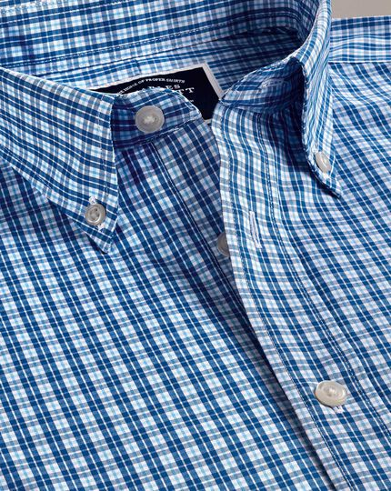 Slim fit non-iron bright blue gingham shirt