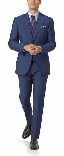 Blue slim fit Italian wool luxury suit