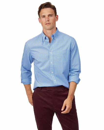 Slim fit soft washed non-iron stretch poplin gingham sky blue shirt
